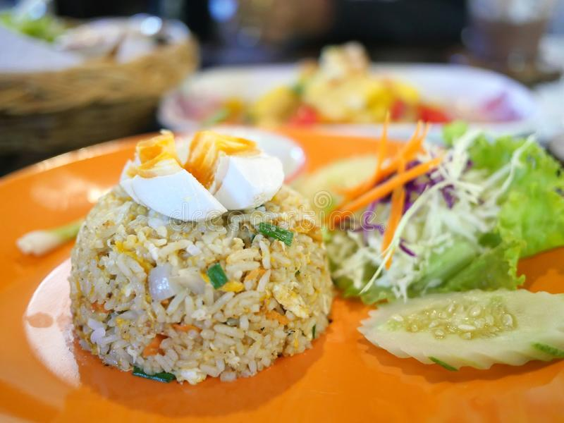 Fried rice with salted egg. With vegetables royalty free stock photography