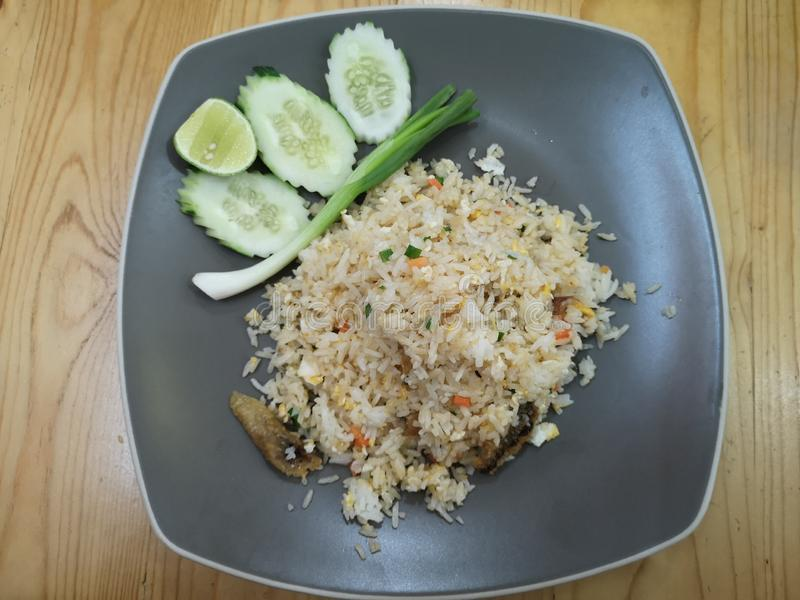 Fried rice with salted fish. Fried rice with salted fish is Thai food stock photo