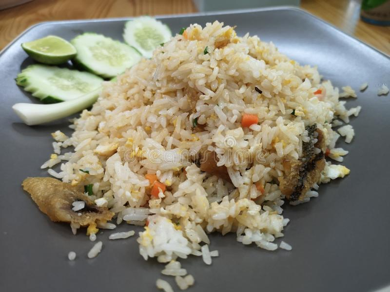 Fried rice with salted fish. Fried rice with salted fish is Thai food royalty free stock images