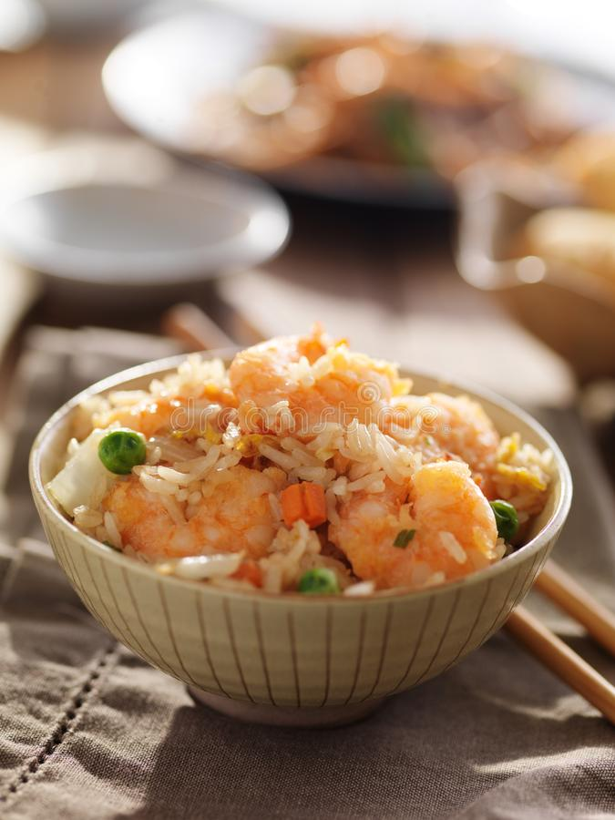 Fried rice with shrimp chinese dish in bowl royalty free stock photo
