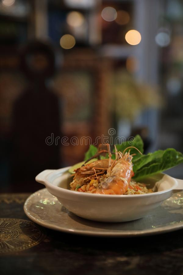 Fried rice with shrimp, Traditional Thai food. Fried rice with shrimp in closeup, Traditional Thai food royalty free stock photos