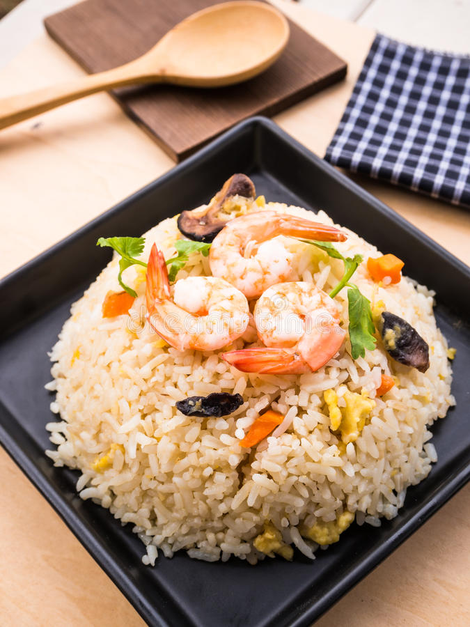 Fried rice with shrimps royalty free stock photos