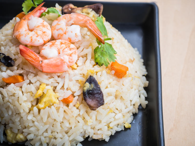 Fried rice with shrimps stock images