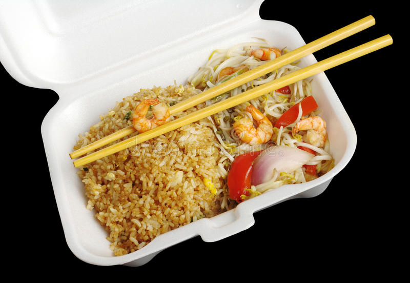 Fried Rice with Vegetables and King Prawn royalty free stock image