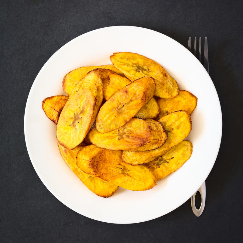 Fried Ripe Plantain Slices. Fried slices of ripe plantains, a traditional and popular snack and accompaniment in Central America and Northern South America royalty free stock photography