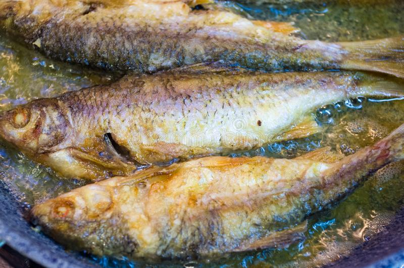 Fried river fish with crispy crust in a frying pan, homemade dish, close up. Fried river fish with crispy crust in a frying pan, homemade dish stock photo