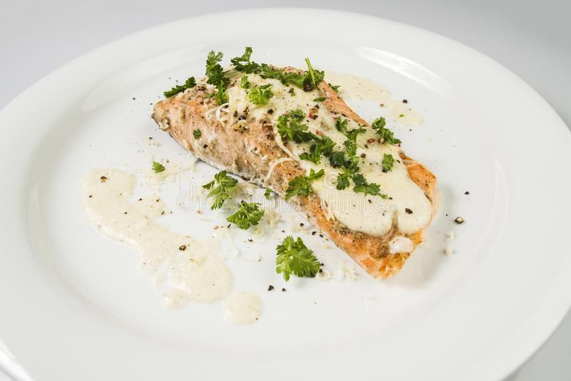 Fried Salmon con la salsa, el perejil y la pimienta de queso fotos de archivo