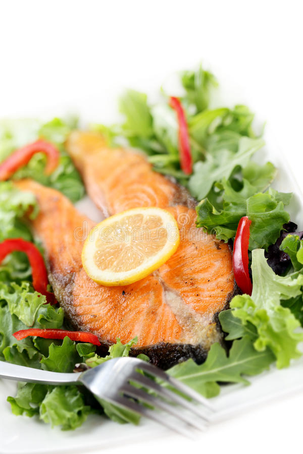 Fried salmon with salad royalty free stock image