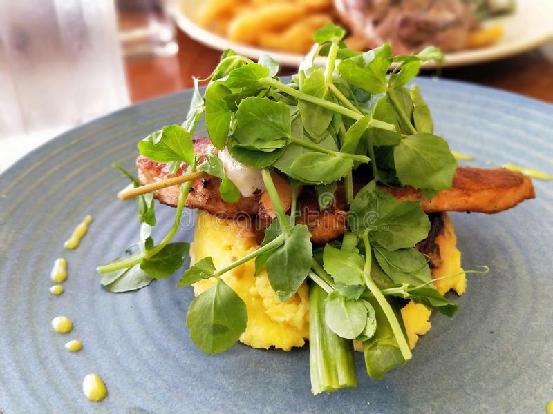 Fried Salmon- und Eijagd mit Salat lizenzfreie stockfotos