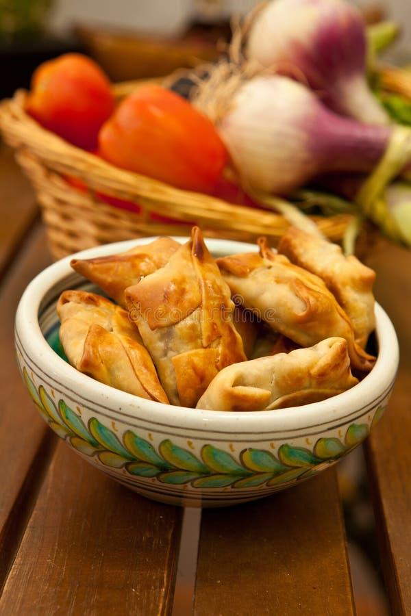 Download Fried samosas stock image. Image of lemon, samosa, salad - 25792159