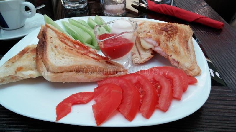 Fried Sandwich com tost do pastrama imagem de stock royalty free
