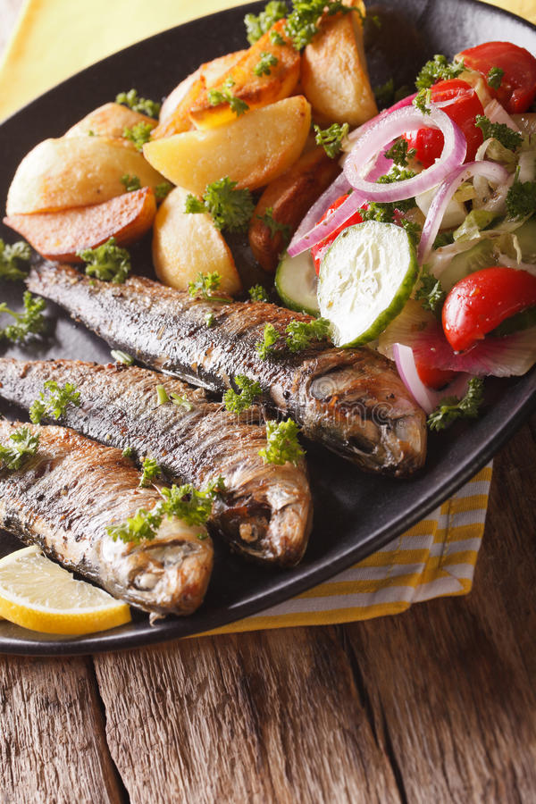 Fried sardines with potatoes and fresh vegetable salad close-up. Vertical royalty free stock image
