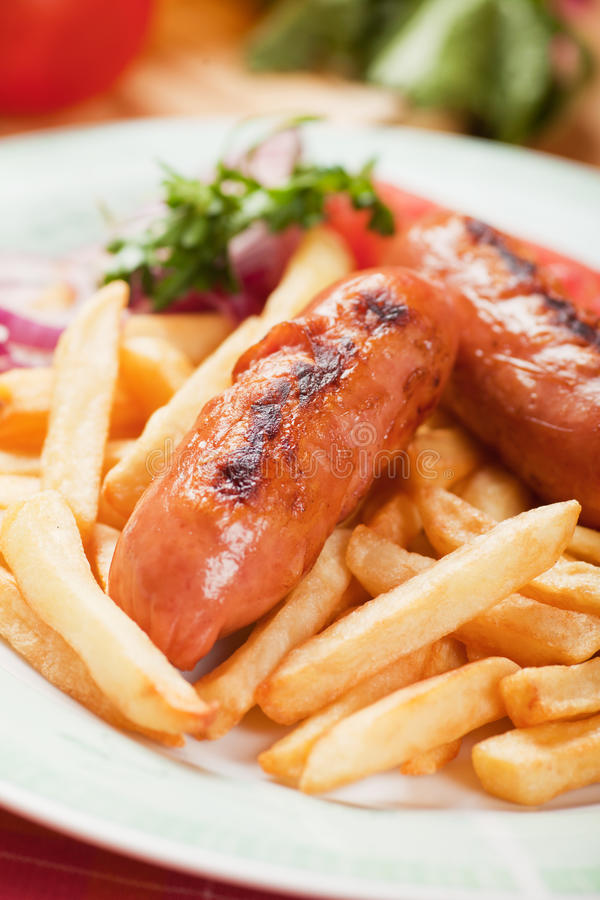 Download Fried Sausage With French Fries Stock Image - Image: 34659281