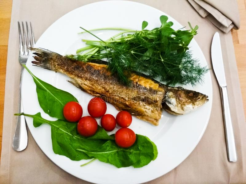 Fried sea bass with fresh tomatoes and greenery royalty free stock images