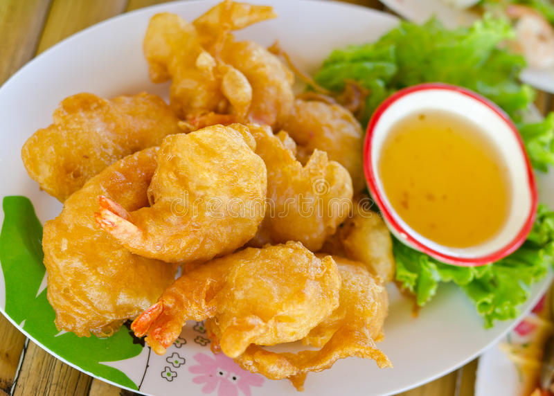 Fried shrimp ball with sweet sauce royalty free stock images
