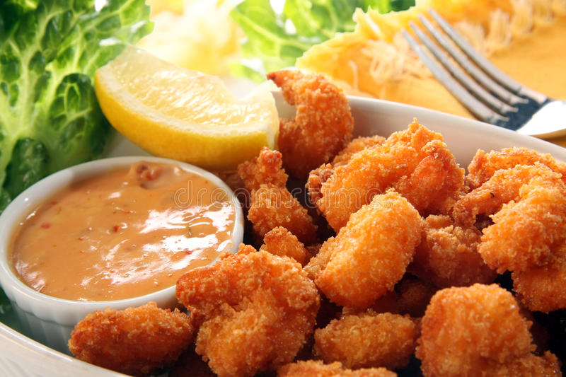 Fried shrimp with cocktail sauce. royalty free stock image