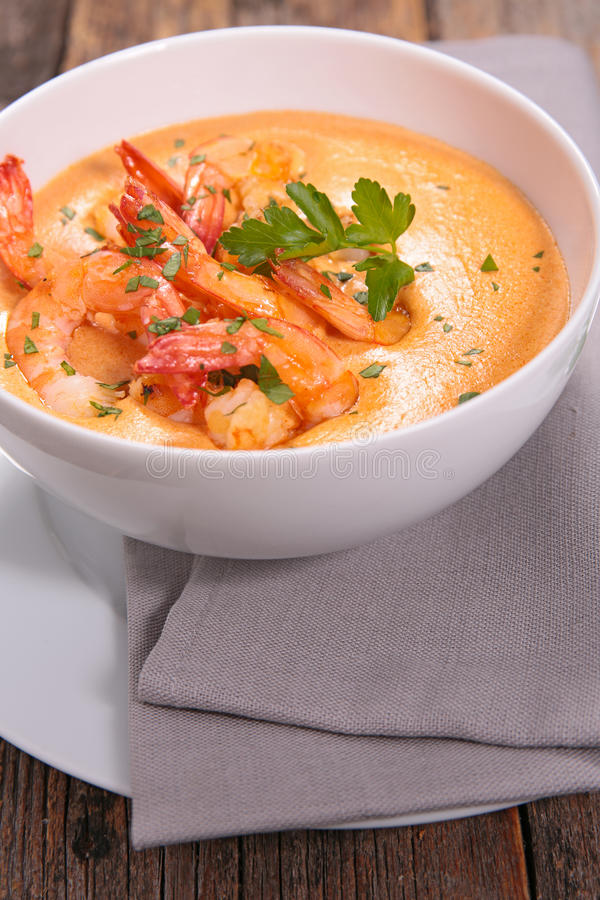 Fried shrimp and cream stock images