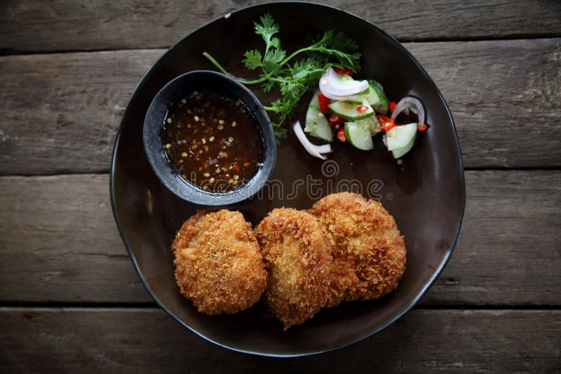 Fried shrimp meat ball thai food. On a plate royalty free stock photography