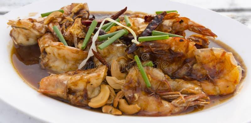 Fried Shrimp met tamarindesaus stock fotografie