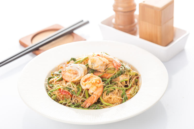 Fried shrimp with the mimosa. And vermicelli royalty free stock photo