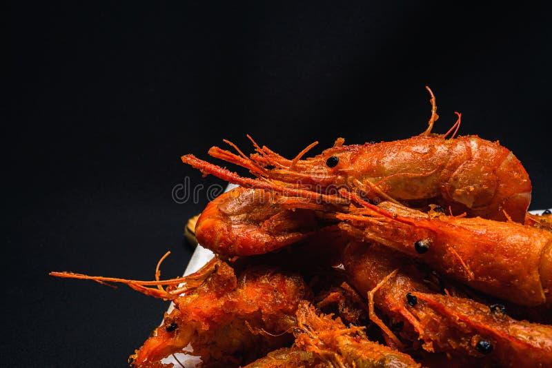 Fried Shrimp que olha delicioso para comer em uma opinião do close-up foto de stock
