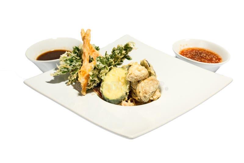 Fried Shrimps en pompoen met saus royalty-vrije stock afbeelding