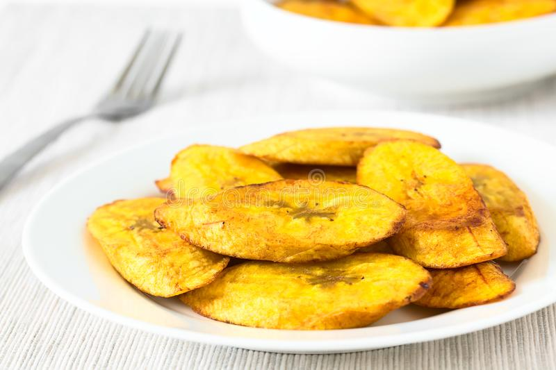 Fried Slices of Ripe Plantains. A traditional and popular snack and accompaniment in Central America and Northern South America, photographed with natural royalty free stock photos