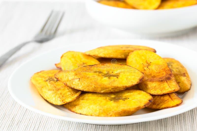 Fried Slices van Rijpe Weegbree royalty-vrije stock foto's