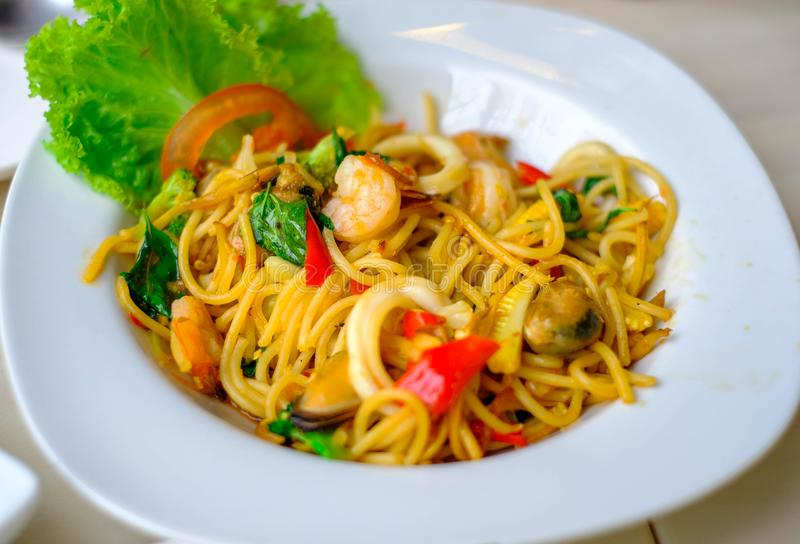 Fried Spaghetti with Sea Food royalty free stock image