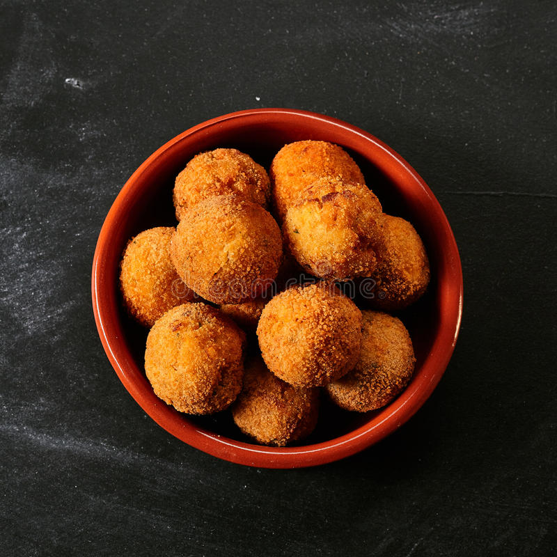 Fried Spanish bacalao croquettes stock photo