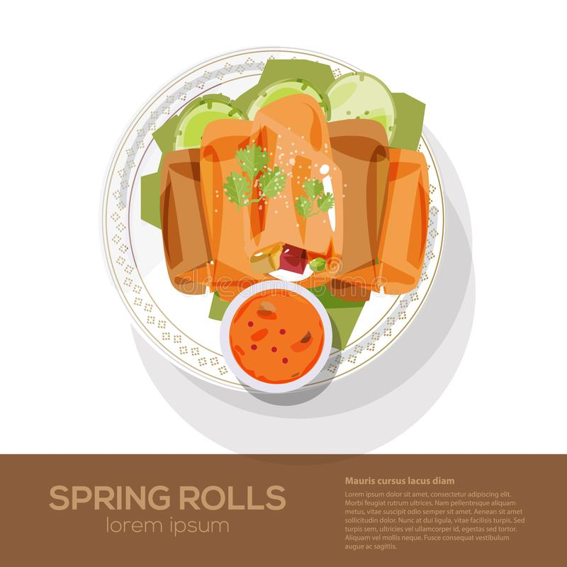Fried spring rolls on a plate - vector stock illustration