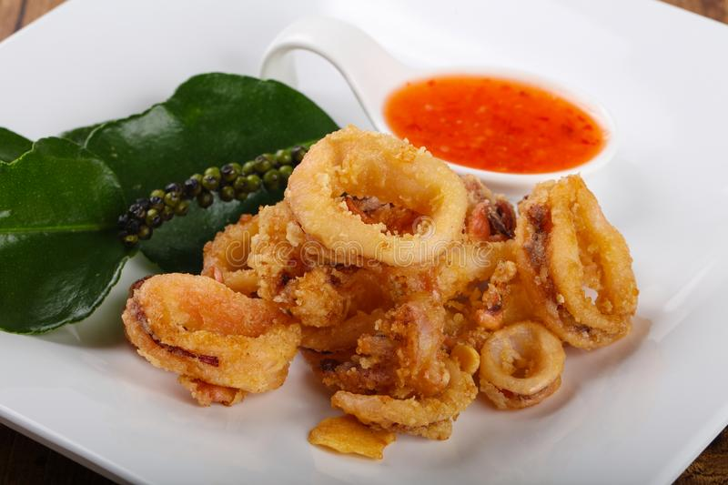 Fried squid rings royalty free stock photography