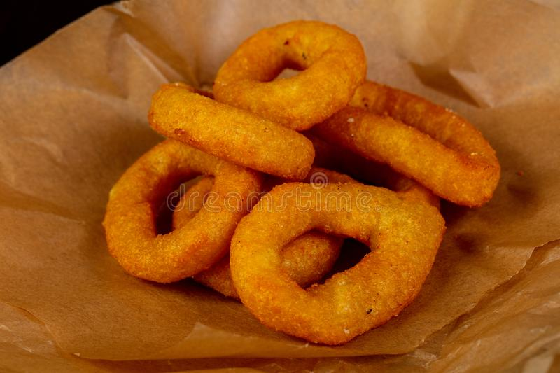 Fried squid rings stock photography