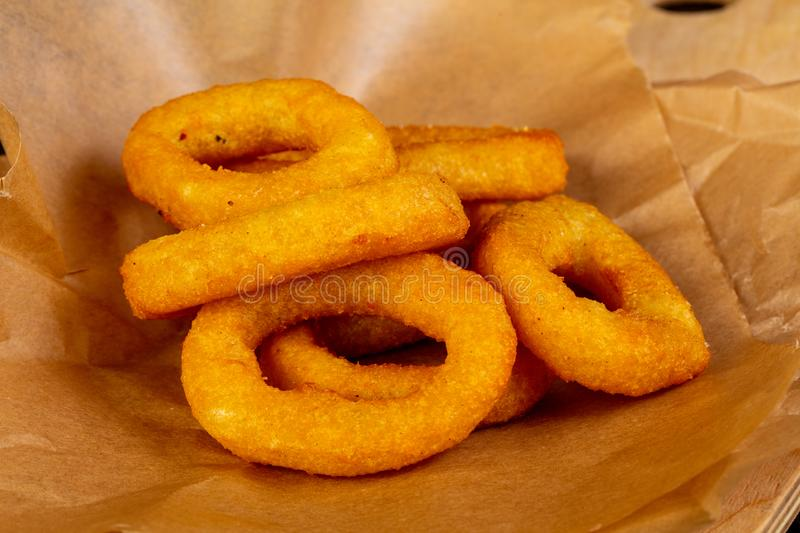 Fried squid rings royalty free stock photo