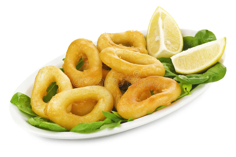 Fried Squid rings royalty free stock image
