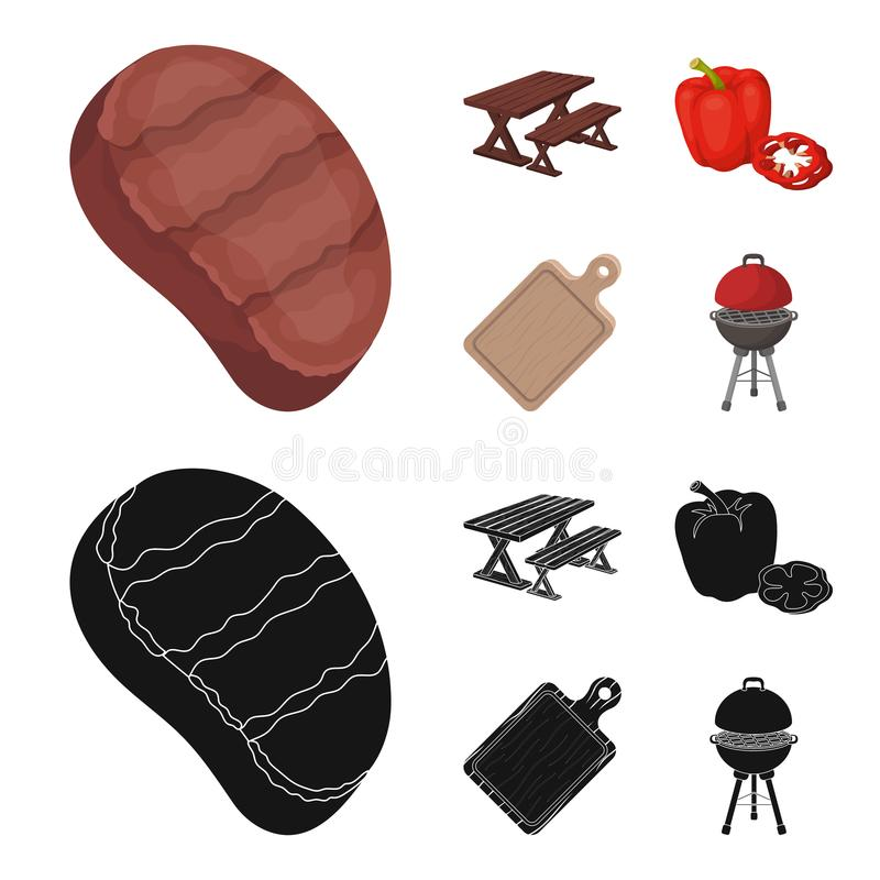 Fried steak, table with a bench for relaxation, sweet pepper, cutting board.BBQ set collection icons in cartoon,black. Style vector symbol stock illustration vector illustration