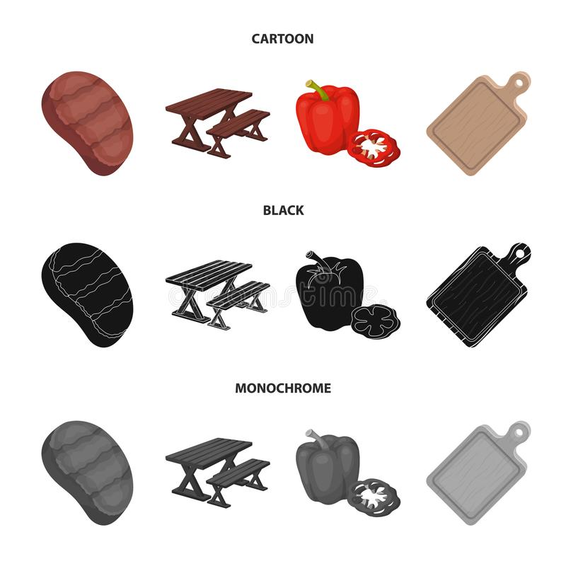 Fried steak, table with a bench for relaxation, sweet pepper, cutting board.BBQ set collection icons in cartoon,black. Monochrome style vector symbol stock stock illustration