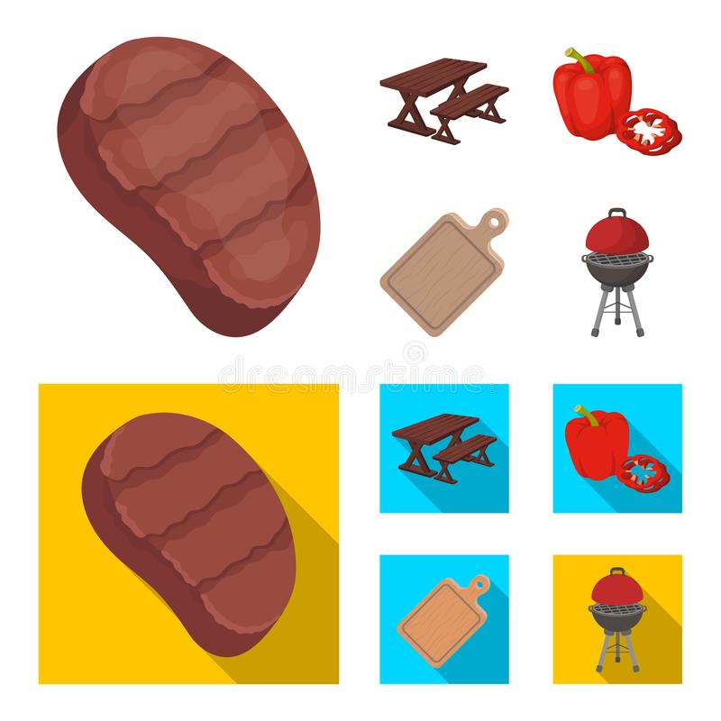 Fried steak, table with a bench for relaxation, sweet pepper, cutting board.BBQ set collection icons in cartoon,flat. Style vector symbol stock illustration vector illustration