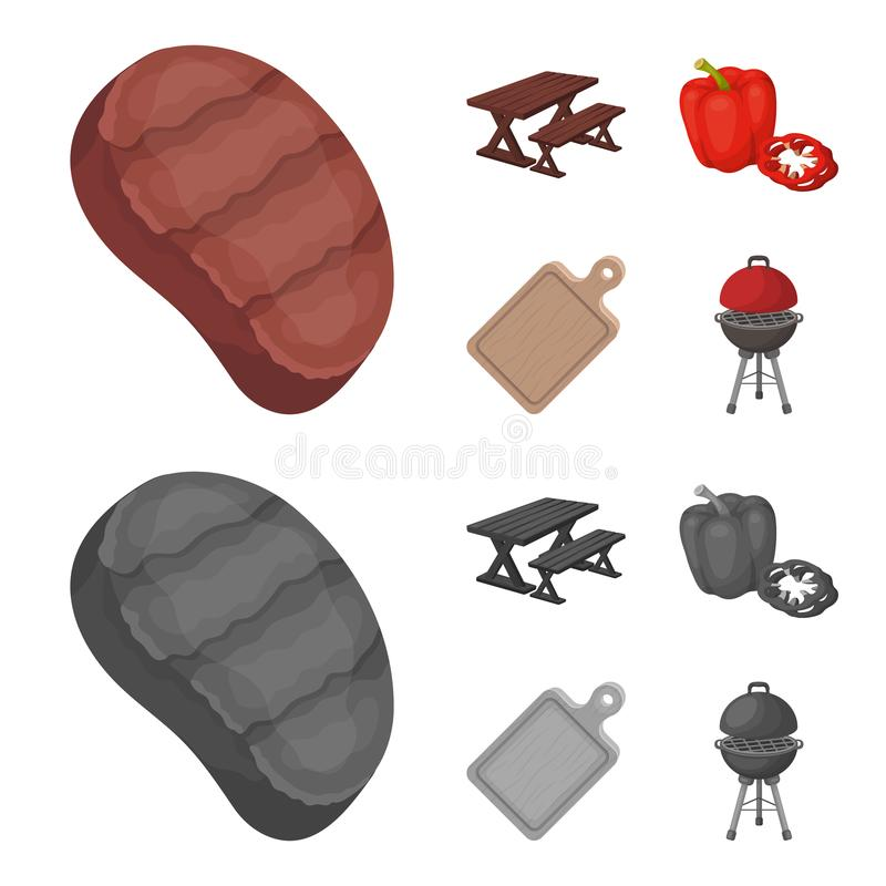 Fried steak, table with a bench for relaxation, sweet pepper, cutting board.BBQ set collection icons in cartoon. Monochrome style vector symbol stock vector illustration