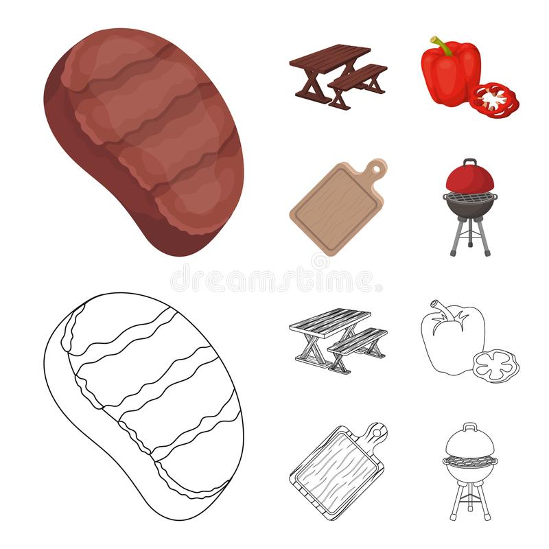 Fried steak, table with a bench for relaxation, sweet pepper, cutting board.BBQ set collection icons in cartoon,outline. Style vector symbol stock illustration stock illustration