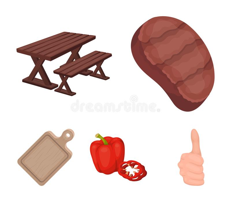 Fried steak, table with a bench for relaxation, sweet pepper, cutting board.BBQ set collection icons in cartoon style. Vector symbol stock illustration stock illustration
