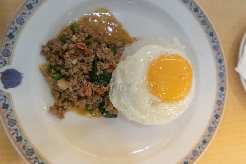 Fried Stir Basil Minced griskött, ris och stekt ägg royaltyfri fotografi