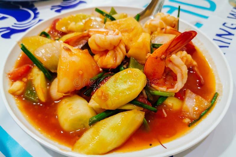 Fried sweet and sour shrimp. Thai Food stock photos