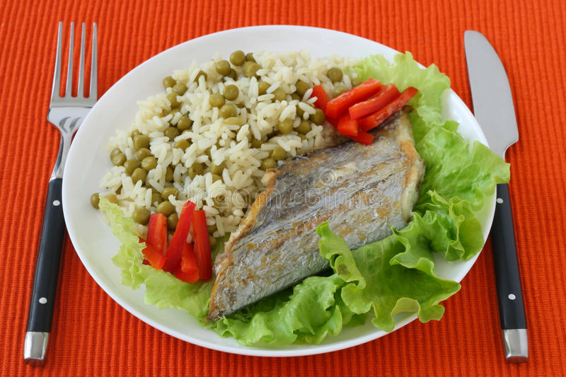 Fried Swordfish With Boiled Rice Royalty Free Stock Photo