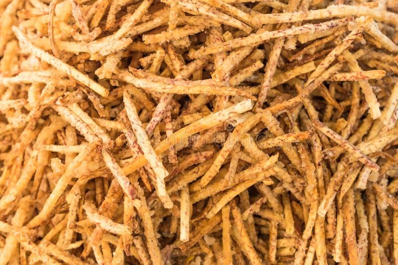 Fried taro crispy stick, Local snacks of Thai people.  stock images