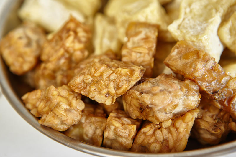 Fried tempeh. Special fermented soya beans from Indonesia royalty free stock photography