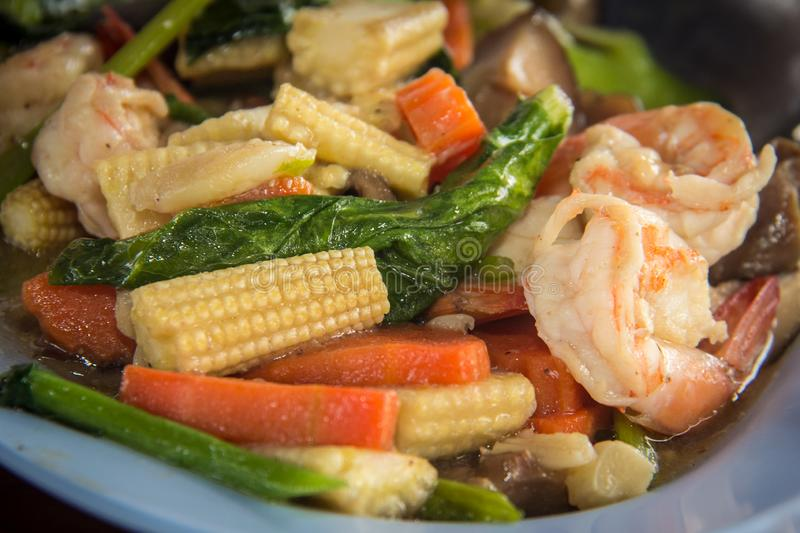 Fried Thai vegetable. Is nutritious food asian broccoli carrots chili clean colorful cook cooking corn cuisine delicious diet dinner diversity eat favorite stock image