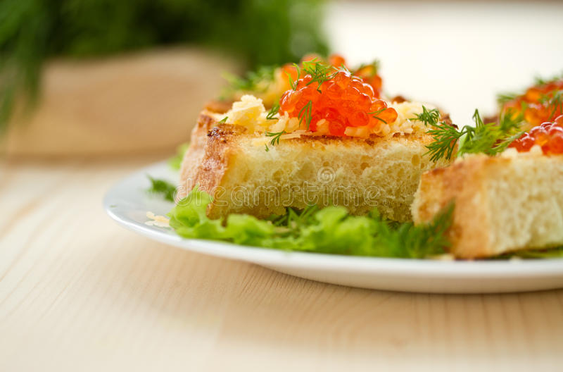 Download Fried Toast With Cheese And Red Caviar Stock Photo - Image: 29156082