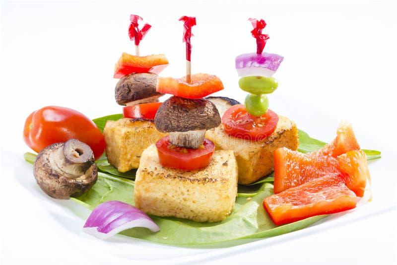 Fried tofu canape. royalty free stock images