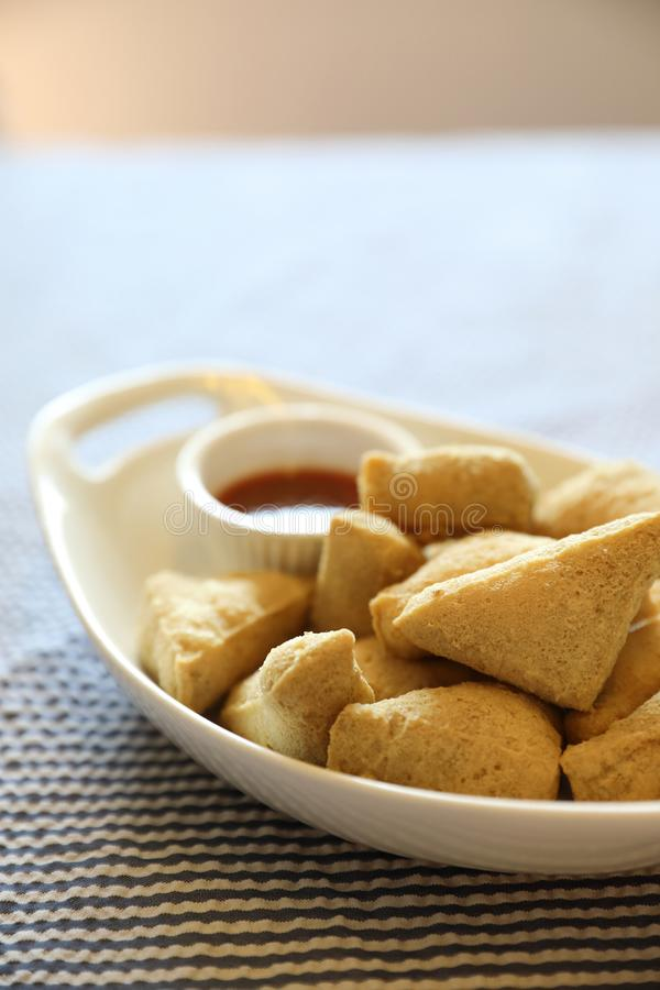 Fried tofu japanese food. In close up royalty free stock images